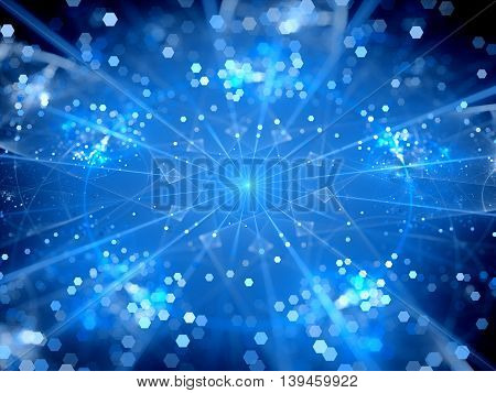 Blue glowing big data hubs network theory computer generated abstract background