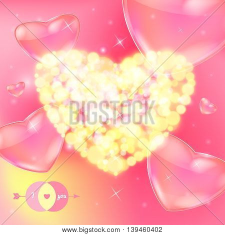 Postcard for Happy Valentine s day with bokeh lights. Vector illustration.