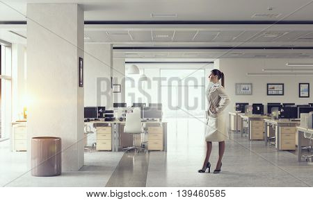 Businesswoman in modern office  .  Mixed media