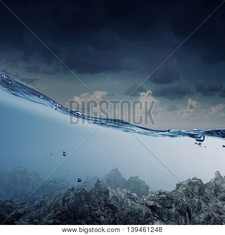Below water image .  Mixed media