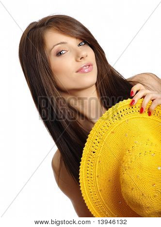 beautiful sexy woman with yellow hat.