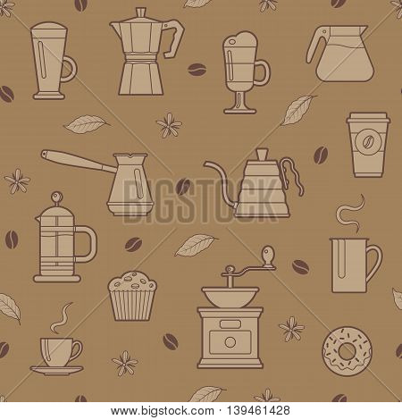 Seamless pattern with different of coffee things. Vector illustration.
