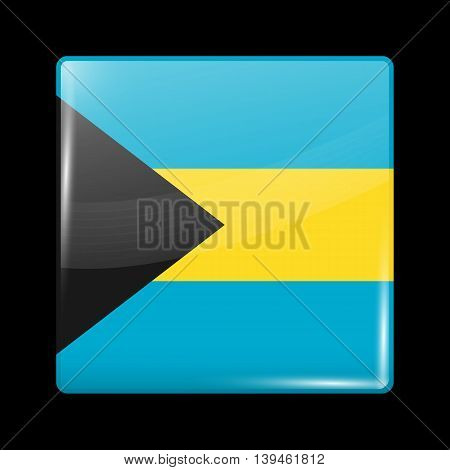 Flag Of Bahamas. Glossy Icon Square Shape