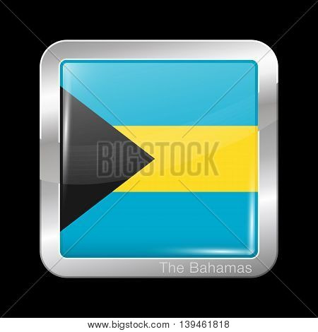 Flag Of Bahamas. Metal Icon Square Shape