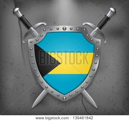 Flag Of Bahamas. The Shield Has Flag Illustration. Vector Medieval Background