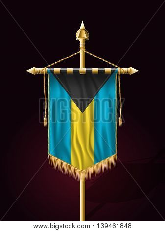 Flag Of Bahamas. Festive Banner Vertical Flag With Flagpole