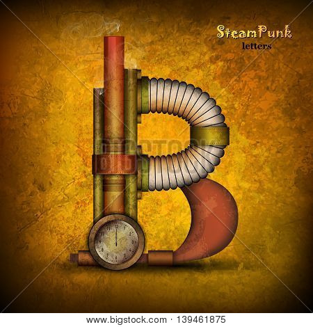 Steam punk alphabet letter for your design. Vector illustration.