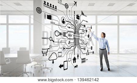 Man drawing his plan  .  Mixed media