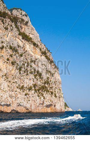Small Pleasure Motorboat Near Capri Island