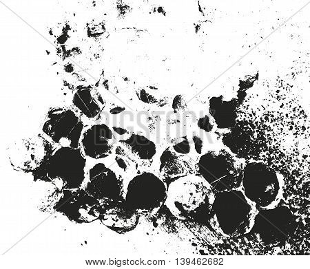 Distressed overlay texture of honeycomb. grunge background. abstract halftone vector illustration