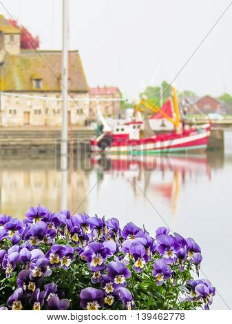 View of old boat as blurred background. Honfleur harbor, Normandy, France