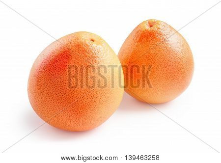 Grapefruit. Ripe grapefruits with water drops isolated on white background