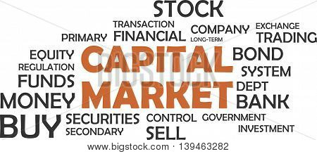 A word cloud of capital market related items