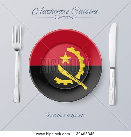 Authentic Cuisine of Angola. Plate with Angolan Flag and Cutlery