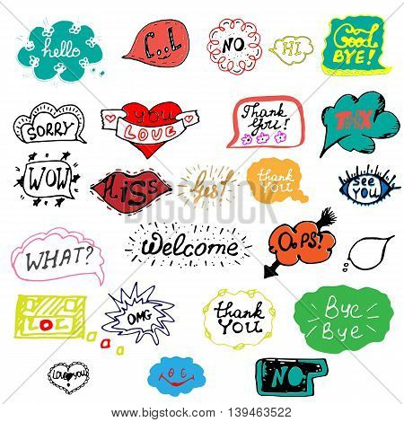 Hand drawn set of speech bubbles with dialog words. Doodle, hand drawn sketch, scribble. Vector illustration.