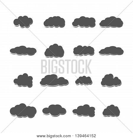 Set of sixteen grey clouds of different shapes isolated on a white background vector illustration.