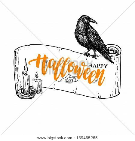 Happy Halloween vector banner with lettering and ribbon candle and raven drawing. Isolated holiday illustration with message