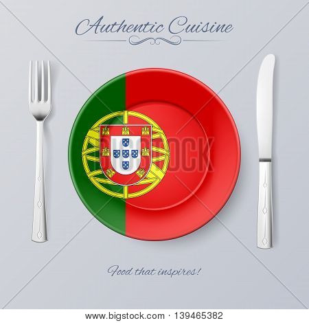 Authentic Cuisine of Portugal. Plate with Portuguese Flag and Cutlery
