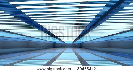 3D illustration of a empty and reflective warehouse with illumination.