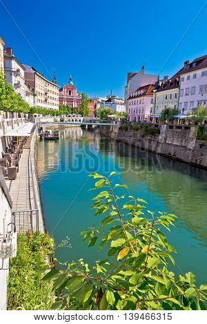 Ljubljana river and architecture vertical view capital of Slovenia