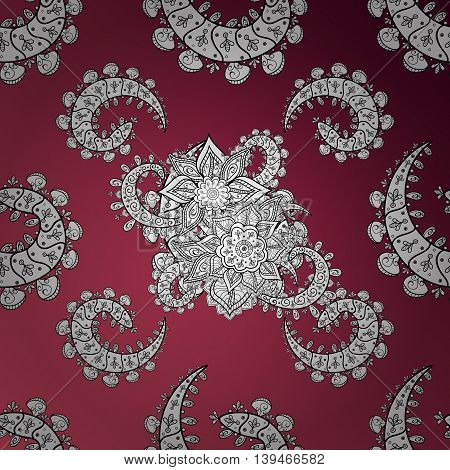 vintage pattern on dark red and pink gradient background with white elements.