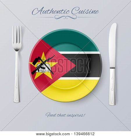 Authentic Cuisine of Mozambique. Plate with Mozambican Flag and Cutlery