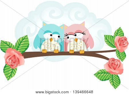 Scalable vectorial image representing a couple in love owls on branch, isolated on white background.