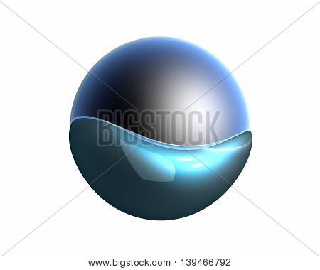 A sphere swimming in water. 3D rendered Illustration.