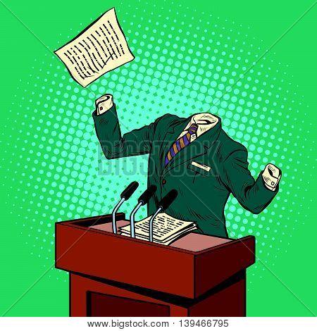 Invisible speaker speaks at the podium pop art retro vector illustration. invisible man