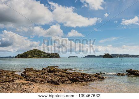 Cruise ship on the coast of Paihia Bay of Islands Northland New Zealand