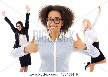 portrait of happy business women isolated on white background