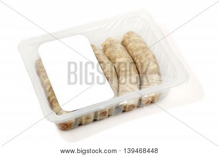 kupaty (bratwursts) in modified atmosphere packaging (MAP) on the white background
