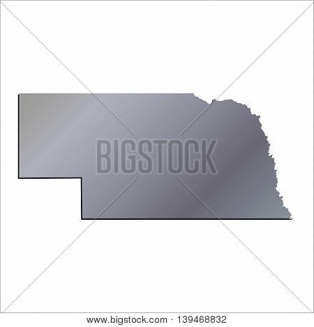 3D Nebraska (USA) Aluminium outline map with shadow