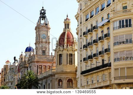 Historic Architecture in the center of Valencia Spain.