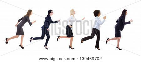 Side View Of Running Business Women Isolated On White