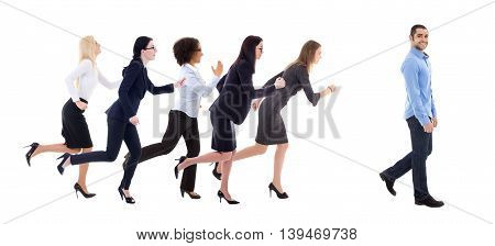 gender equality concept - business women running for walking business man isolated on white background
