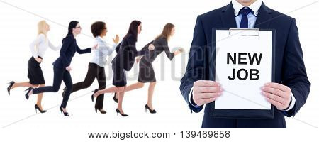 health resource concept - running business women and man holding clipboard with text 'new job' isolated on white background