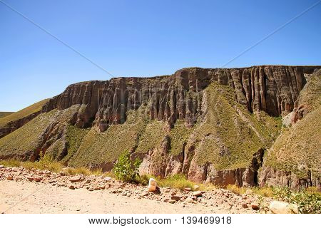 Landscape in the heights of Jujuy Argentina South america.