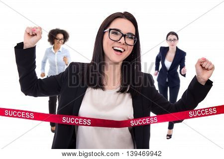 Success Concept - Business Woman Crossing Finish Line Isolated On White