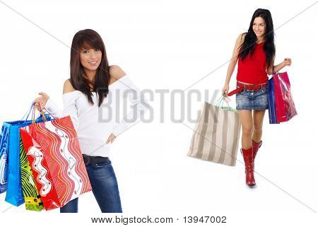 two teenage girls doing shopping.