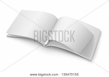 Blank open magazine template on white background. Wide format. Vector illustration. Ready for your design.