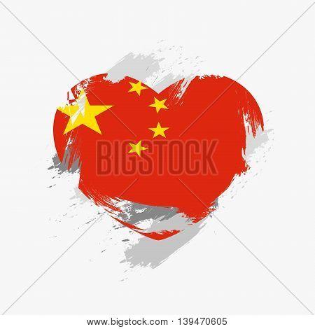 Vector Grunge Flag Of China
