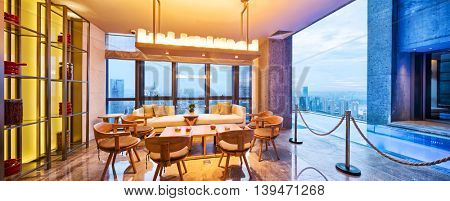 chongqing,china: decoration and furniture in viewing balcony of modern hotel by zhudifeng on July,6,2016