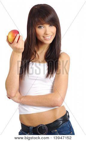 Chica sexy con manzana