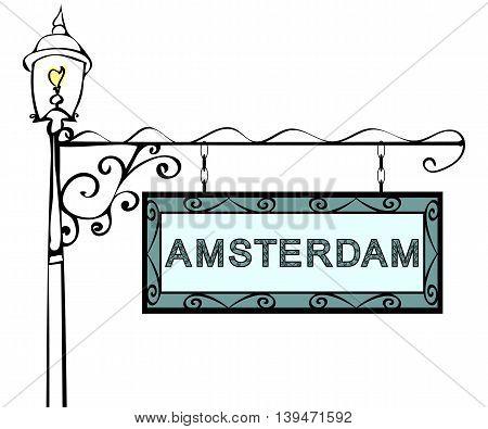 Amsterdam retro vintage pointer lamppost. Amsterdam capital Netherlands travel tourism.
