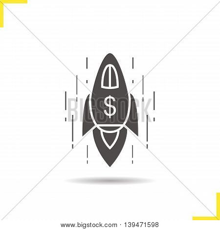 Spaceship with us dollar sign icon. Drop shadow goal achievement silhouette symbol. Business success emblem. Rocket vector isolated illustration