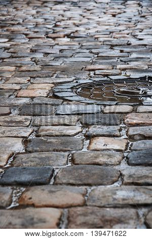 old pavement after the rain - lviv Ukraine