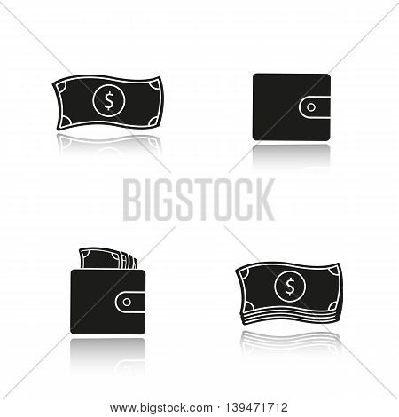 Cash drop shadow black icons set. Dollar bills stack and leather wallet with banknotes, one us dollar. Money isolated vector illustrations