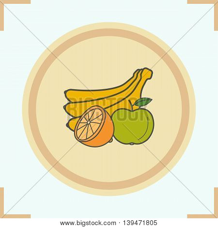Fruit color icon. Bunch of bananas, halved lemon and apple. Grocery store products vector isolated illustration