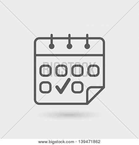delivery schedule thin line icon isolated with shadow